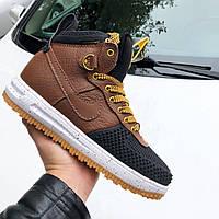 Мужские кроссовки Nike Lunar Force 1 Duckboot коричневые, высокие кроссовки найк лунар форс