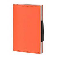 Картхолдер-кошелек кожаный оранжевый Франция 410586
