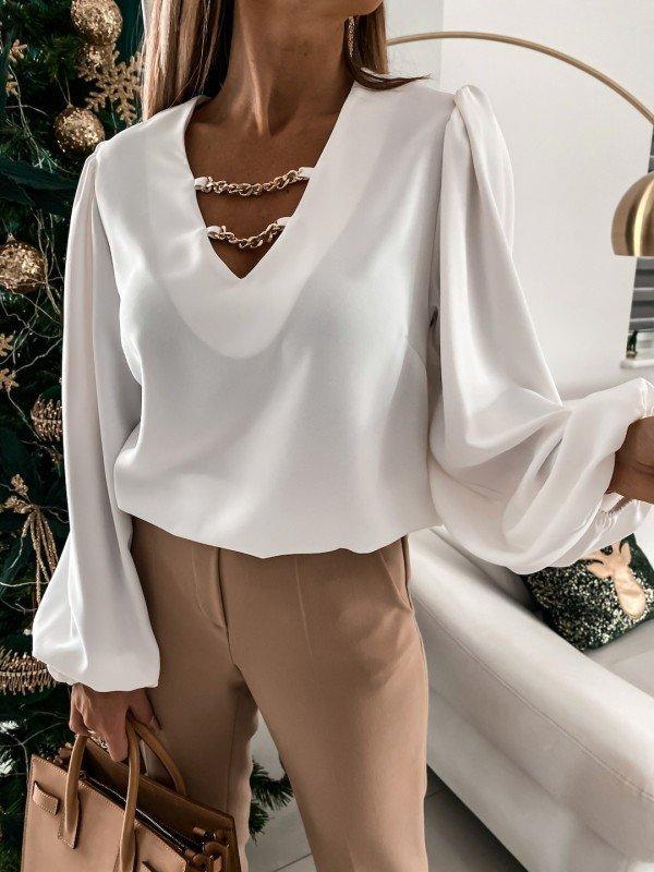 Элегантная блуза с объемными рукавами 42 (в расцветках)