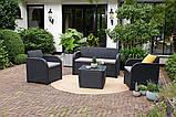 Комплект садових меблів Allibert by Keter Novara Lounge Set Graphite ( графіт ) штучний ротанг, фото 5