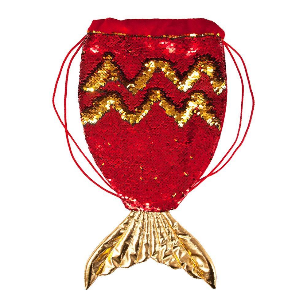Детская сумка-рюкзак Хвост русалки красный с пайетками 40 см. Fancy RUA1