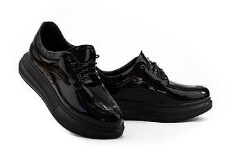 Женские туфли кожаные весна/осень черные-лак U Spirit 5082