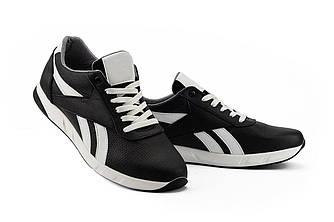 Мужские кроссовки кожаные весна/осень черные-белые CrosSAV 90 Exofit Lo Clean