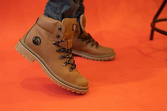 Мужские ботинки кожаные зимние оливковые Shark B150