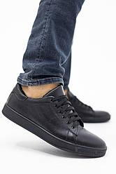 Мужские кеды кожаные весна/осень черные Yuves 220 Black Edition