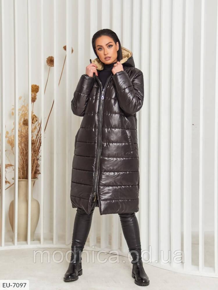 Стеганное женское длинное пальто с капюшоном большого размера, размеры  50-52, 54-56, 58-60