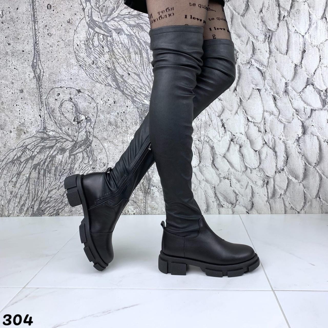 Зимові жіночі чорні ботфорти, натуральна шкіра