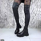 Зимові жіночі чорні ботфорти, натуральна шкіра, фото 3