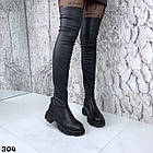 Зимові жіночі чорні ботфорти, натуральна шкіра, фото 4