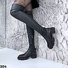 Зимові жіночі чорні ботфорти, натуральна шкіра, фото 5