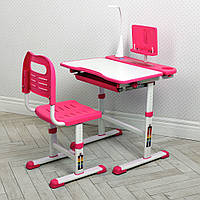 Детская растущая розовая парта и стул Bambi M 4428-8 с лампой для девочки цвет розовый