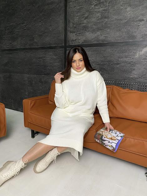 Белое теплое БАТАЛЬНОЕ вязаное платье под горло с 44 по 62 размер