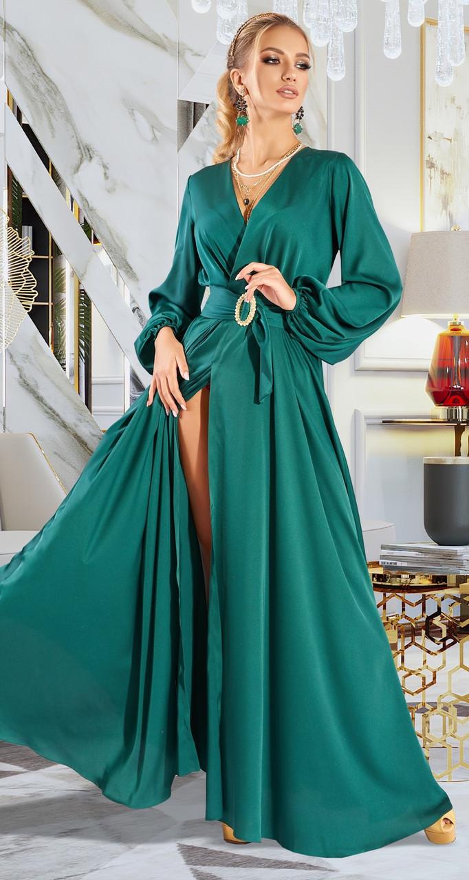 Изумрудное длинное шикарное платье