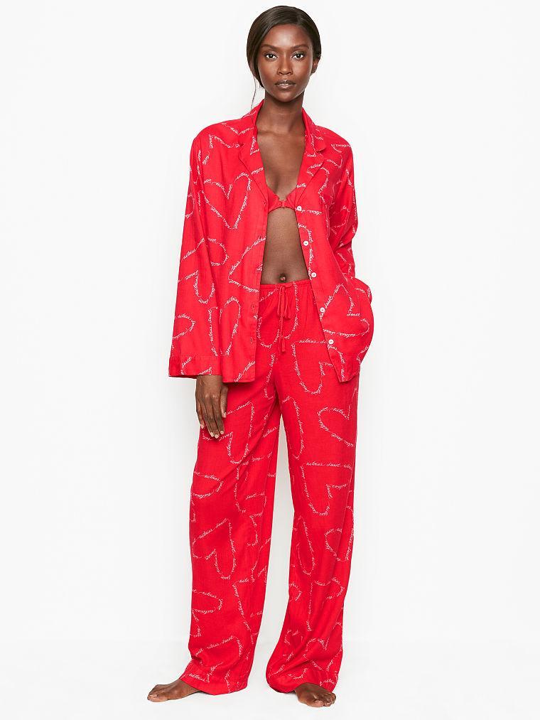 Фланелевая Пижама Victoria's Secret Cotton Printed Flannel PJ Set, Красная