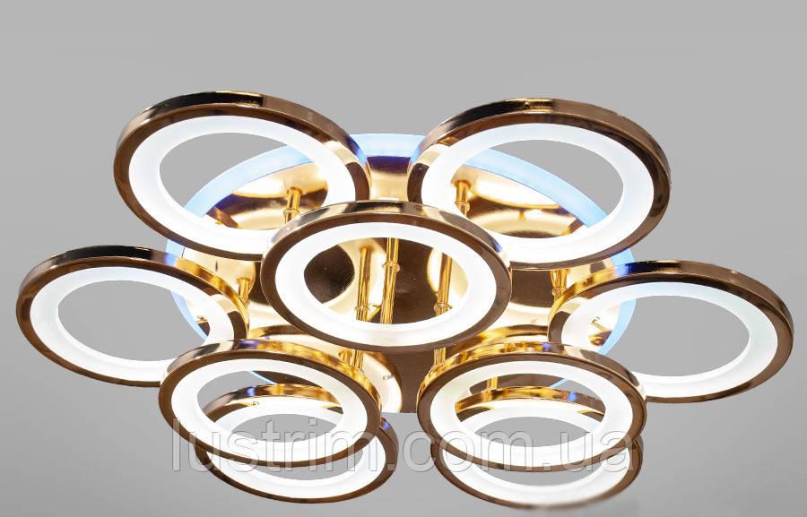 Світлодіодна люстра з діммером і підсвічуванням Золото 155W