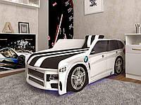 Детская кровать-машина БМВ Премиум белого цвета + Газ. мех. + Подсветка фар / низу (цветная) 5v + пуль1890/836