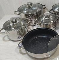 Набор кухонной посуды Bohmann ВН 1241-10 10 предметов 4 кастрюли 1 сковорода мраморная с крышками