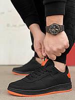 Мужские черные кроссовки Force с оранжевой подошвой