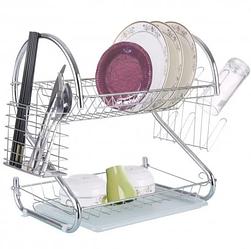 Сушилка для посуды Bohmann ВН 77325 двухярусная | Стойка для хранения посуды 2 полки