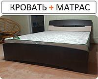 ДВУСПАЛЬНАЯ КРОВАТЬ C МАТРАСОМ 160х200 Венге + Дуб молочный