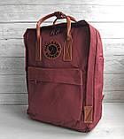 Рюкзак сумка канкен бордовый Fjallraven Kanken No.2 с коричневыми ручками 16 л. женский, для девочки, фото 5