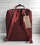 Рюкзак сумка канкен бордовый Fjallraven Kanken No.2 с коричневыми ручками 16 л. женский, для девочки, фото 4