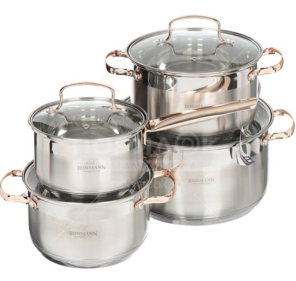 Набір кухонного посуду Bohmann ВН 71908 8 предметів 3 каструлі та ковші з кришками