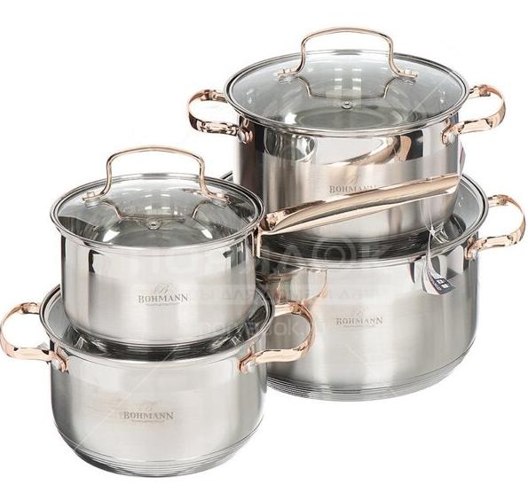 Набор кухонной посуды Bohmann ВН 71908 8 предметов 3 кастрюли и ковш с крышками