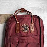 Рюкзак сумка канкен бордовый Fjallraven Kanken No.2 с коричневыми ручками 16 л. женский, для девочки, фото 8