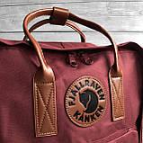 Рюкзак сумка канкен бордовый Fjallraven Kanken No.2 с коричневыми ручками 16 л. женский, для девочки, фото 7