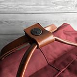 Рюкзак сумка канкен бордовый Fjallraven Kanken No.2 с коричневыми ручками 16 л. женский, для девочки, фото 6