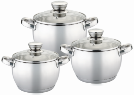 Набір кухонного посуду Bohmann ВН 70513 6 предметів 3 каструлі з кришками