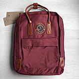 Рюкзак сумка канкен бордовый Fjallraven Kanken No.2 с коричневыми ручками 16 л. женский, для девочки, фото 9