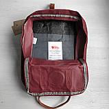 Рюкзак сумка канкен бордовый Fjallraven Kanken No.2 с коричневыми ручками 16 л. женский, для девочки, фото 10