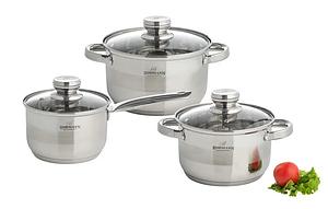 Набор кухонной посуды Bohmann ВН 706-1756 6 предметов 2 кастрюли и ковш с крышками