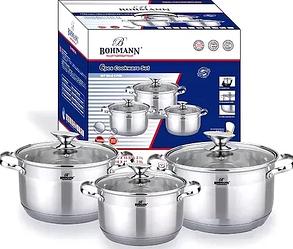 Набор кухонной посуды Bohmann ВН 1912-06 6 предметов 3 кастрюли с крышками