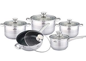 Набор кухонной посуды Bohmann ВН 1912-10 MRB 10 предметов 3 кастрюли ковш сковорода с крышками