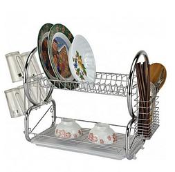 Сушарка для посуду Bohmann ВН 77316 двоярусне   Стійка для зберігання посуду 2 полиці