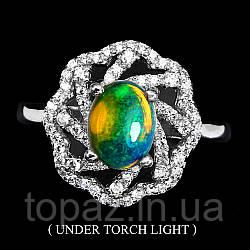 Кольцо серебряное 925 натуральный огненный опал, цирконий.