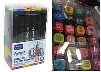 """Набор скетч маркеров 24 цвета ST-8018-24 """"Sketch marker Future"""" двухсторонних, скошенный и круглый кончик"""