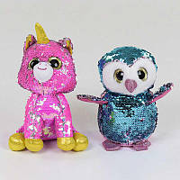 Мягкая игрушка Глазастик С 37828 в пайетках, 2 вида, 22 см