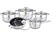 Набір кухонного посуду Bohmann ВН 1912-10 MRB 10 предметів 3 каструлі ківш сковорода з кришками