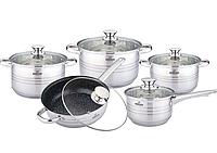 Набір кухонного посуду Bohmann ВН 1912-10 MRB 10 предметів 3 каструлі ківш сковорода з кришками, фото 1
