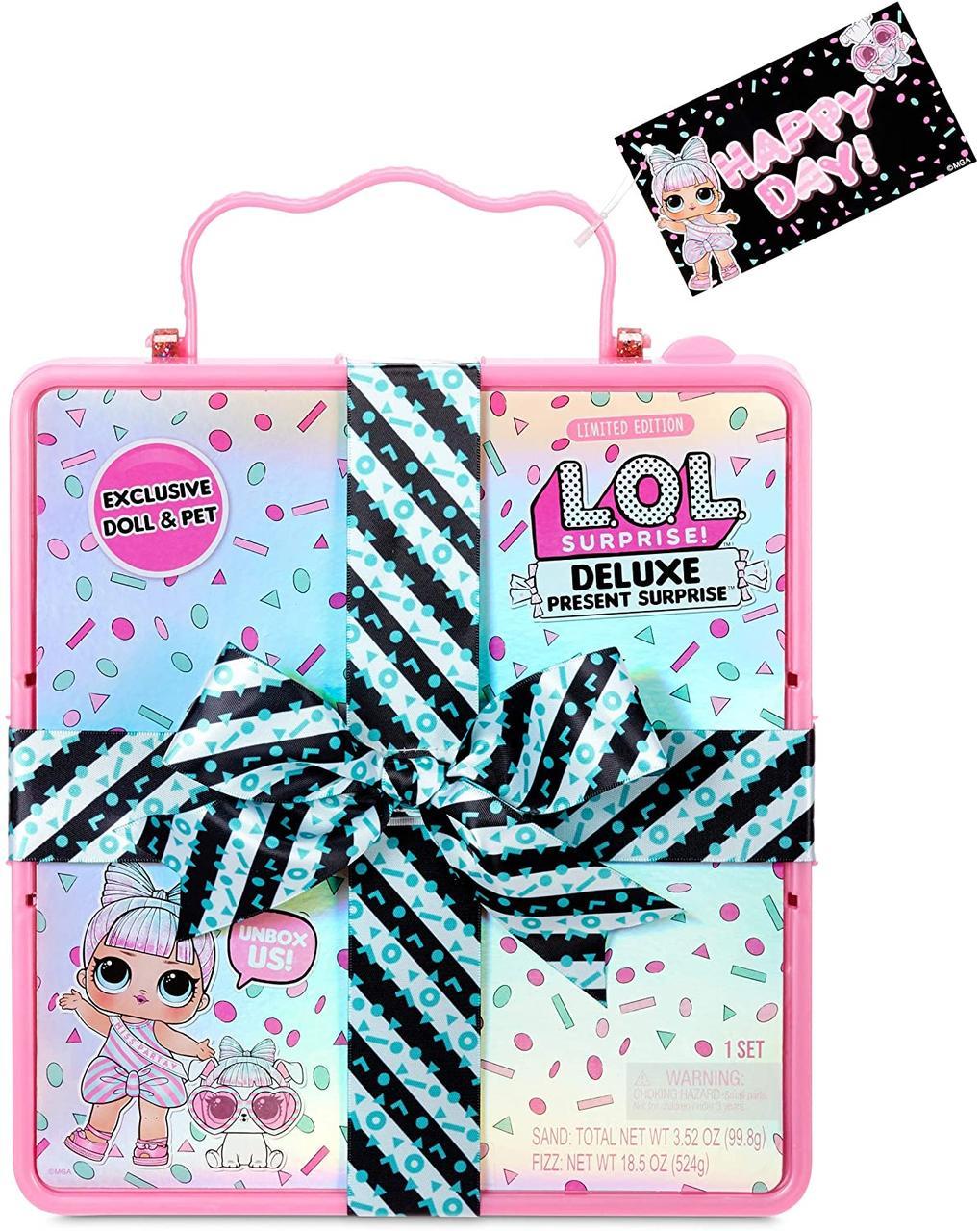 L.O.L. Surprise! Игровой набор Суперподарок с куклой и питомцем LOL Deluxe Present Surprise розовый