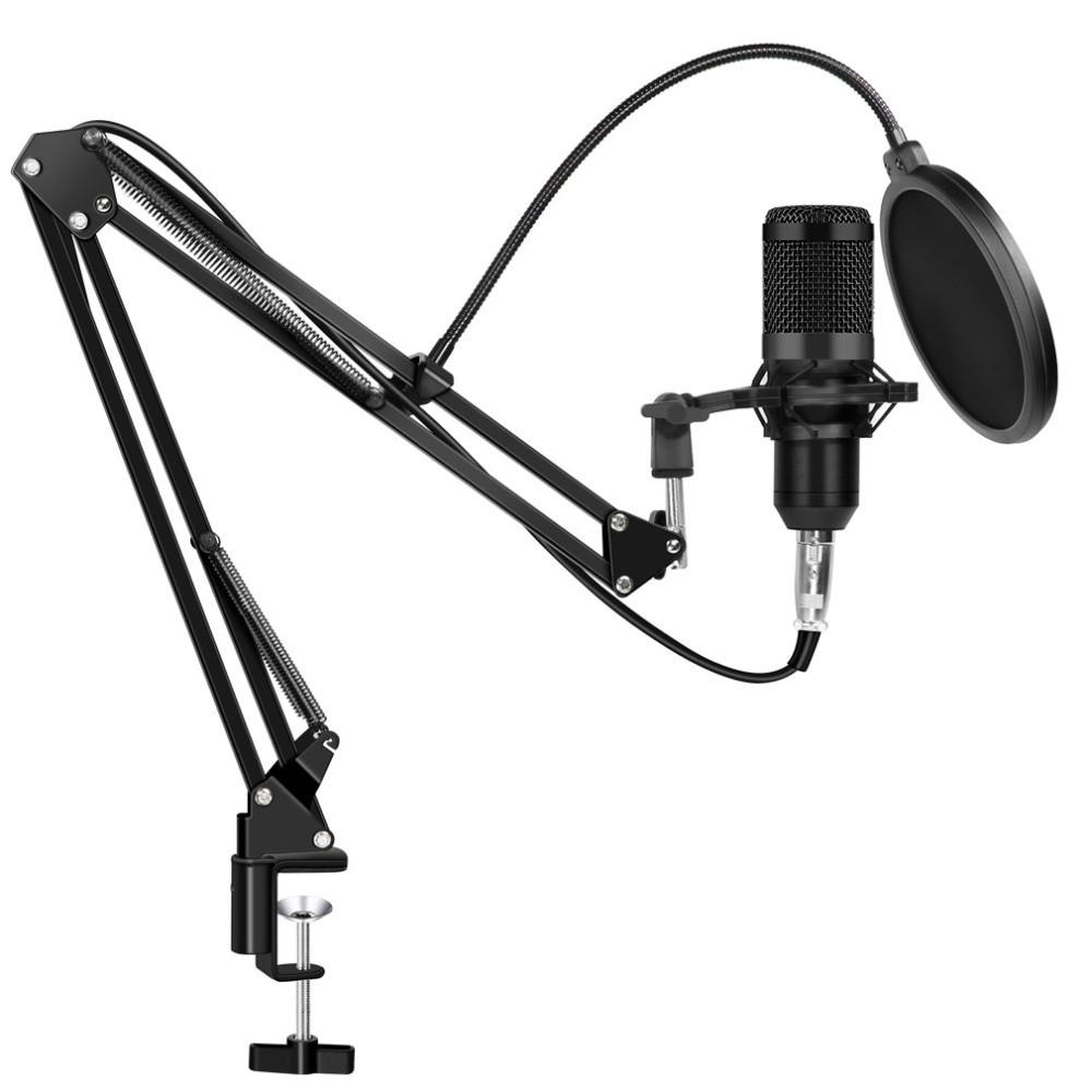 Студийный микрофон Music D.J. M800 со стойкой и поп-фильтром Black (5006)