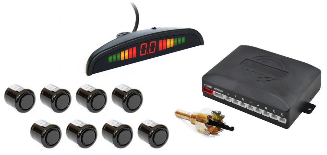 Парктроник автомобильный UKC на 8 датчиков + LCD монитор (черные датчики) (4904)