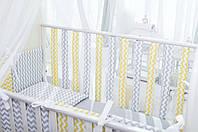 Бортики в детскую кроватку Хлопковые Традиции 15х50 см 12 шт Серый с желтым, КОД: 1639810