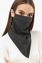 Женская черная маска платок в мелкий горошек на резинке