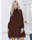 Женское зимнее платье осеннее черное бежевое зеленое бордовое синее коричневое 42 44 46 48 вельветовое теплое, фото 3