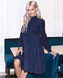 Женское зимнее платье осеннее черное бежевое зеленое бордовое синее коричневое 42 44 46 48 вельветовое теплое, фото 4